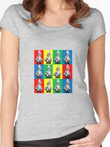 Just Vivi - Bold Colour Grid Women's Fitted Scoop T-Shirt