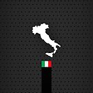 Italy Flag and Map - Black Stripe on Dark gray by UltraCases