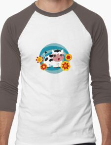 Psychedelic Cow Men's Baseball ¾ T-Shirt