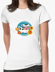 Psychedelic Cow Womens Fitted T-Shirt
