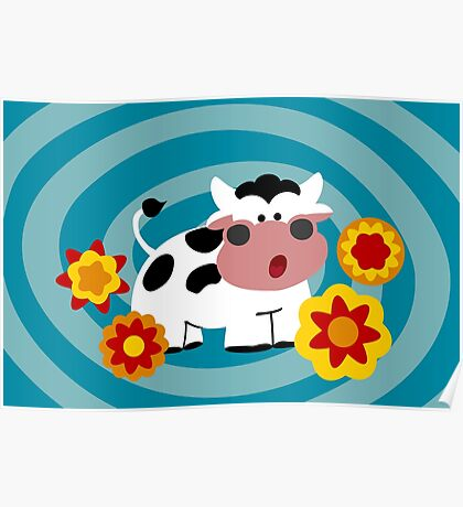 Psychedelic Cow Poster