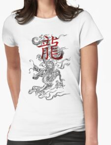 Traditional Japanese Dragon with Kanji Womens Fitted T-Shirt