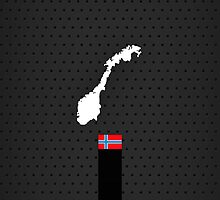 Norwegian Flag and Map - Black Stripe on Dark gray by UltraCases