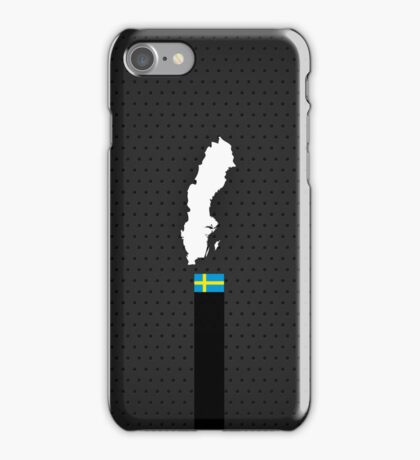 Sweden Flag and Map - Black Stripe on Dark gray iPhone Case/Skin