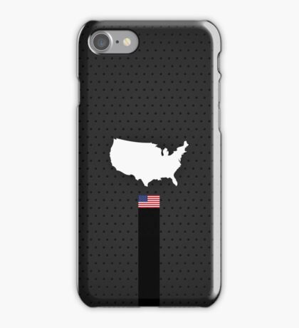American Flag and Map - Black Stripe on Dark gray iPhone Case/Skin