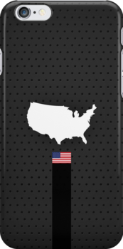 American Flag and Map - Black Stripe on Dark gray by UltraCases