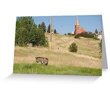 Cripple Creek, Colorado Donkey and church Greeting Card