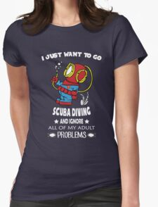 Superman Scuba Diving Womens Fitted T-Shirt