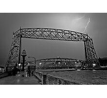 Duluth Lift Bridge Under Lightning Photographic Print