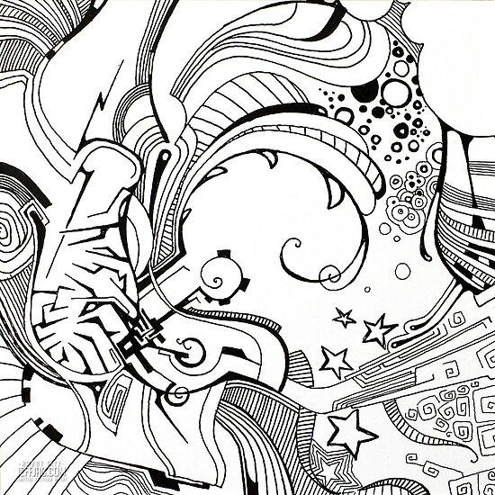 Robot Fizz - Pen & Ink Illustrated Art by jeffjag