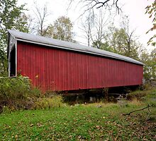 Grey Day at the Hassenplug Covered Bridge by Gene Walls