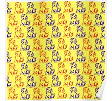 Cute dog puppies pattern for kids Poster