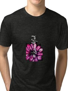 """""""# Beautiful"""" with Purple Hand Painted Flowers Tri-blend T-Shirt"""