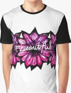 """# Beautiful"" with Purple Hand Painted Flowers Graphic T-Shirt"