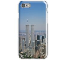 Aerial view of New York City, with Twin Towers of the World Trade Center visible iPhone Case iPhone Case/Skin