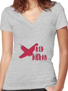 RED BARON Women's Fitted V-Neck T-Shirt