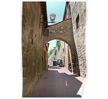 Streetscape, San Gimignano Poster