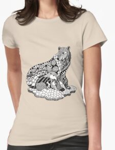 Polar Bear with Cub Drawing Womens Fitted T-Shirt