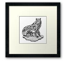 Polar Bear with Cub Drawing Framed Print