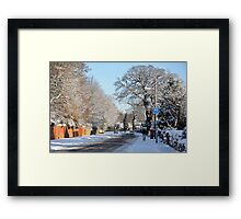 Village in the snow Framed Print
