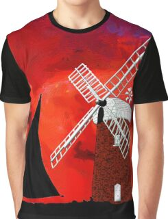 A digital painting of Horsey Windmill & Wherry Graphic T-Shirt
