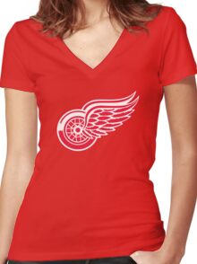 detroit red wings Women's Fitted V-Neck T-Shirt