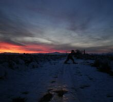 Camping out while traping reptiles when sudden snowstorm & big foot? by aaron a amyx