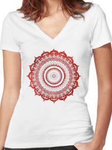 omulyana red mandala Women's Fitted V-Neck T-Shirt