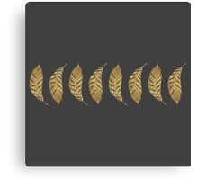 Pretty and Swanky Faux Gold Leaf Stripe on Black Canvas Print