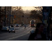 Streetcar In The Fading Light At Queen & Roncesvalles Photographic Print