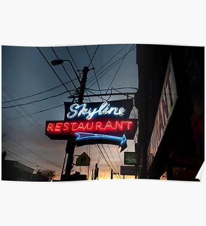Skyline Restaurant Sign Poster