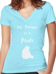 My Patronus is a Panda Women's Fitted V-Neck T-Shirt