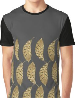 Pretty and Swanky Faux Gold Leaves on Black Graphic T-Shirt
