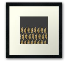 Pretty and Swanky Faux Gold Leaves on Black Framed Print