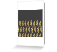 Pretty and Swanky Faux Gold Leaves on Black Greeting Card
