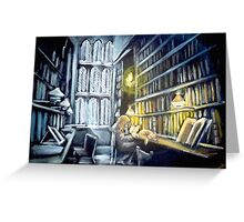 Hermione stydying in the Hogwarts library  Greeting Card