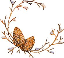 Watercolor Pine Cone Frame by LidiaP