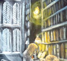 Hermione stydying in the Hogwarts library  Sticker
