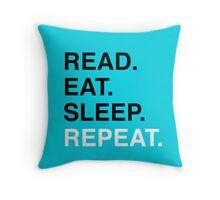 Read. Eat. Sleep. Repeat. (Blue) Throw Pillow