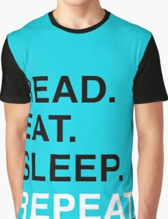 Read. Eat. Sleep. Repeat. (Blue) Graphic T-Shirt