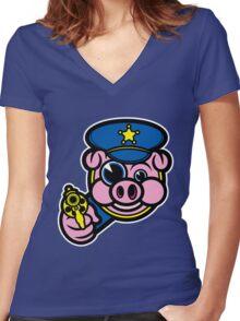 PIGGY COP Women's Fitted V-Neck T-Shirt