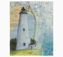 Ocracoke Lighthouse NC Map Chart Peek Outer Banks Baby Tee