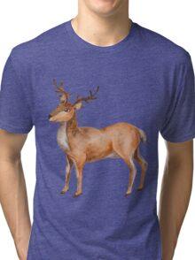 Watercolor Reindeer Tri-blend T-Shirt
