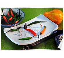 Playing tennis on plate II Poster
