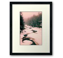 Winter Snowy Water Scene Framed Print