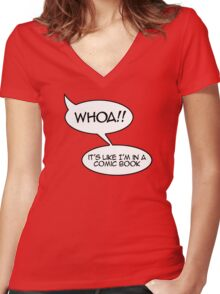 Whoa! It's like I'm in a comic book Women's Fitted V-Neck T-Shirt