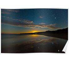 Parsons Beach Moonset Poster