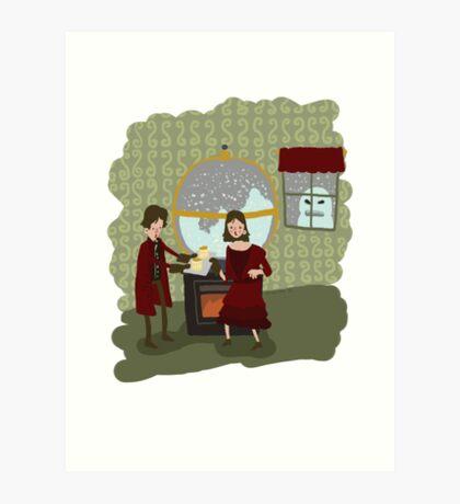 Snowglobes and Souffle Girl Art Print