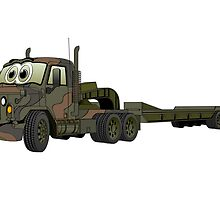 Military Semi Heavy Duty Hauler Cartoon by Graphxpro