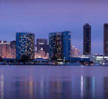 San Diego, CA Skyline at night by camfischer
